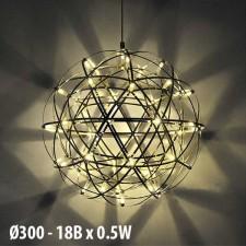 Đèn thả quả cầu inox TE-232 Ø300 3000K